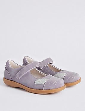 Chaussures enfants en cuir à bride transversale, GRIS, catlanding