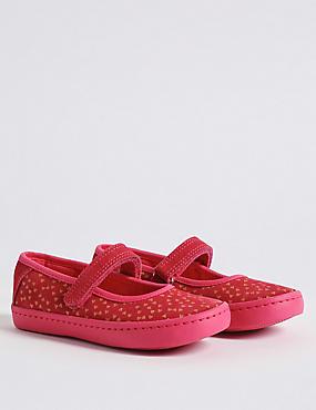 Kids' Suede Riptape Cross Bar Shoes, PINK, catlanding