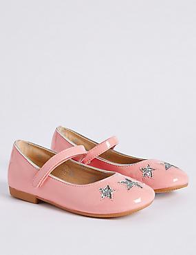 Kids' Star Sequin Cross Bar Shoes, BLUSH, catlanding