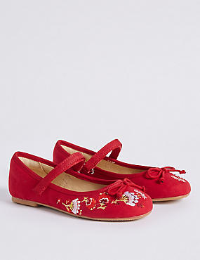 Kids' Embroidered Cross Bar Shoes, RED MIX, catlanding