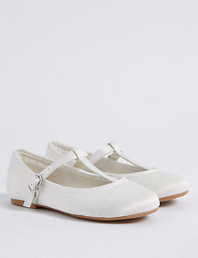 Kids' T-Bar Bridesmaids Shoes, IVORY, catlanding