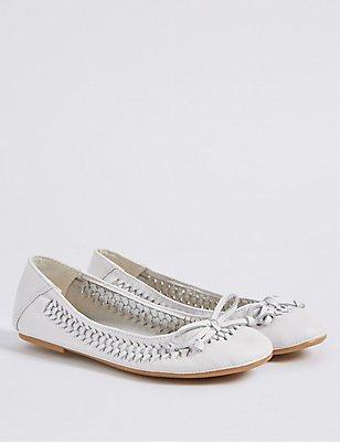 Kids' Ballerina Shoes, WHITE, catlanding