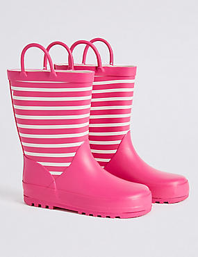Kids' Striped Welly Boots, PINK, catlanding