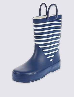 Kids' Reflective Striped Welly Boots, NAVY, catlanding