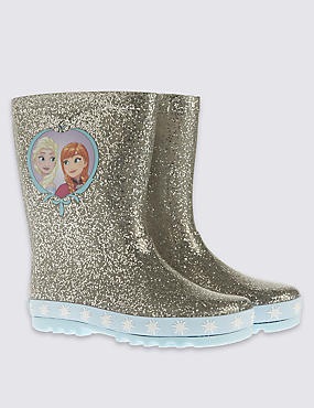 Kids' Disney Frozen Wellington Boots, SILVER, catlanding