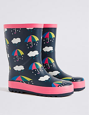 Kids' Novelty Umbrella Welly Boots, MULTI BLUES, catlanding