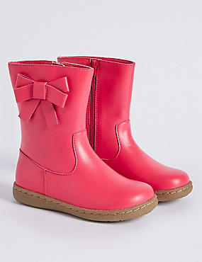 Kids' Leather Bow Mid-calf Boots, HOT PINK, catlanding