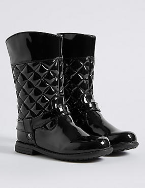 Kids' Quilted Mid-calf Boots, BLACK, catlanding