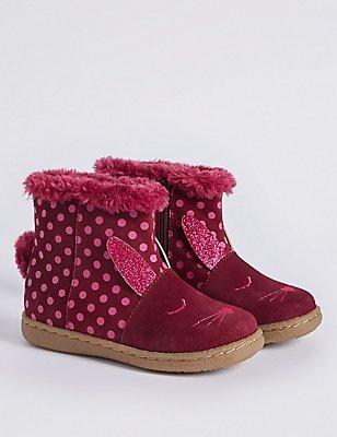 Kids' Suede Mid-calf Boots, BERRY, catlanding