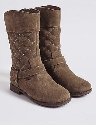 Kids' Suede Mid-calf Boots, MINK, catlanding