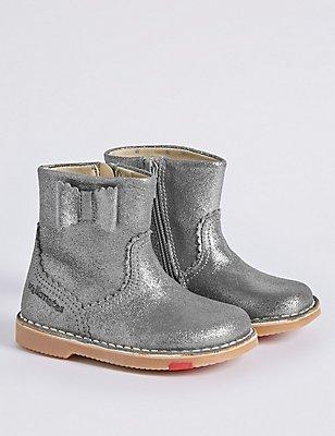 Kids' Leather Walkmates Boots, PEWTER, catlanding