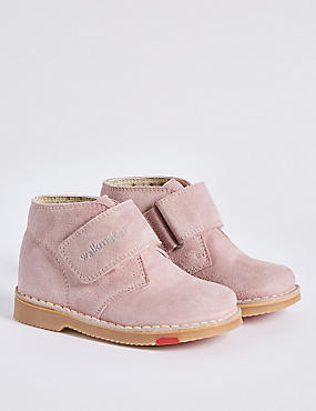 Kids' Suede Walkmates Ankle Boots, PINK, catlanding