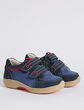 Kids' Leather Walkmates Sports Trainers, NAVY, catlanding