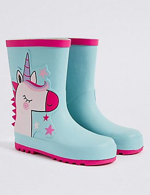 Kids' Unicorn Welly Boots, MULTI, catlanding
