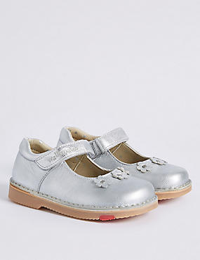 Kids' Leather Walkmates Cross Bar Shoes, SILVER, catlanding