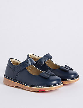 Kids' Leather Walkmates Cross Bar Shoes, NAVY, catlanding