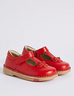 Kids' Leather Walkmates Riptape T-Bar Shoes, RED, catlanding