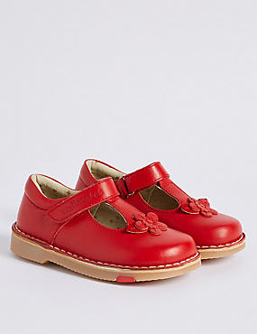 Kids' Leather Walkmates Riptape T-Bar Shoes, RED, catlanding