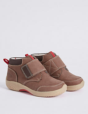Kids' Suede Riptape Walkmates Ankle Boots, BROWN, catlanding