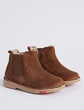 Kids' Suede Walkmates Chelsea Boots, TAN, catlanding