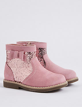 Kids' Sparkle Bow Ankle Boots , PINK, catlanding
