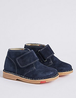 Kids' Suede Riptape Walkmates Ankle Boots, NAVY, catlanding