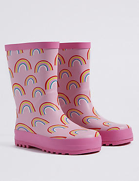 Kids' Rainbow Printed Wellies, PINK MIX, catlanding