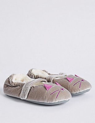 Kids' Novelty Velvet Slippers, GREY, catlanding