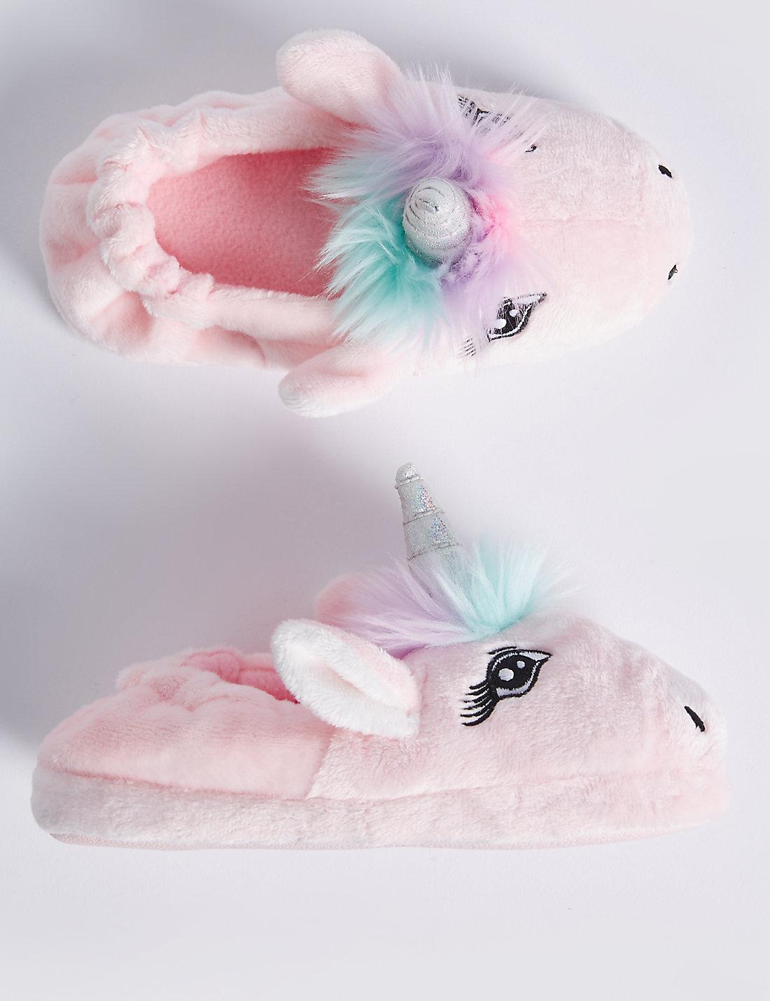 kids u0027 slip on unicorn slippers m u0026s