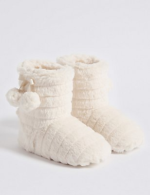 Kids' Faux Fur Slipper Boots, CREAM, catlanding