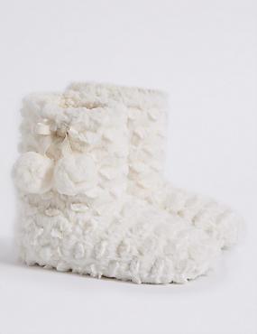 Kids' Faux Fur Christmas Slipper Boots, CREAM, catlanding