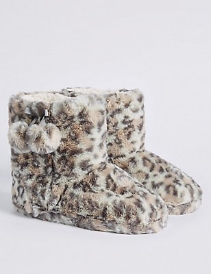 Kids' Animal Print Slipper Boots, BROWN, catlanding