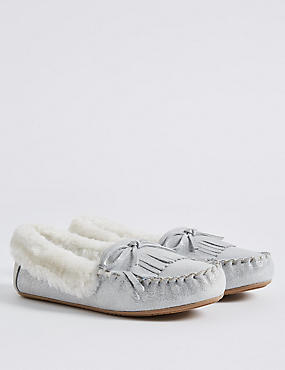 Kids' Moccasin Slipper Shoes, SILVER, catlanding