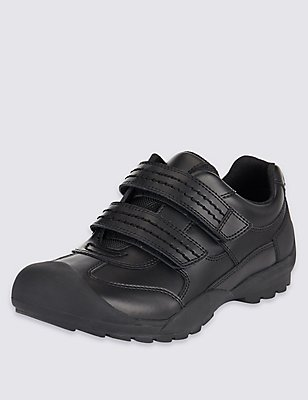 Kids' Scuff Resistant Coated Leather School Trainers, BLACK, catlanding
