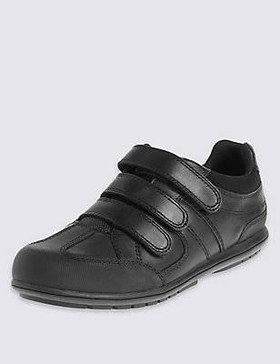 Kids' Leather School Shoes with Insolia Flex® & Freshfeet™ Technology, BLACK, catlanding