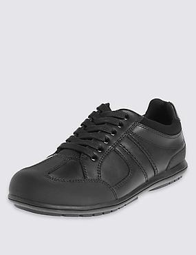 Kids' Leather School Shoes with Insolia Flex® & Freshfeet™ Technology, BLACK, catlanding