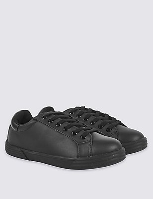 Kids' Lace-up Trainers with Freshfeet™, BLACK, catlanding