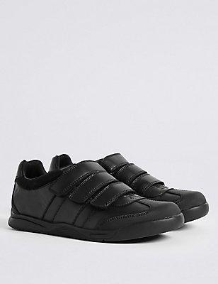 Kids' Leather Standard Fit School Shoes - Half Sizes , BLACK, catlanding