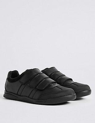 Kids' Leather Wide Fit School Shoes, BLACK, catlanding