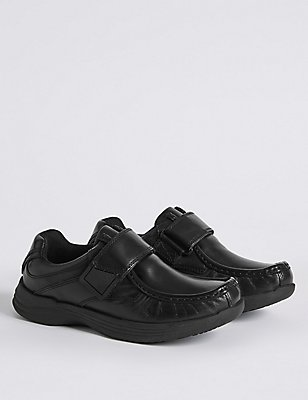 Kids' Leather Freshfeet™ Fashion Trainers, BLACK, catlanding