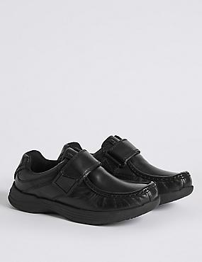 Kids' leather Riptape School Shoes, BLACK, catlanding
