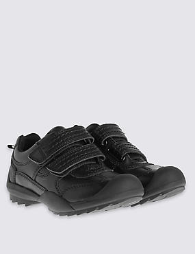 Kids' Scuff Resistant Coated Leather Trainers with Freshfeet™ Technology, BLACK, catlanding