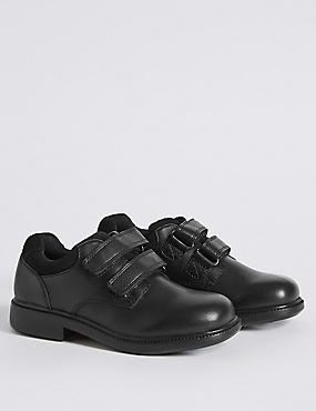 Kids' Freshfeet™ Leather Shoes with Silver Technology, BLACK, catlanding