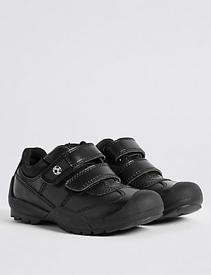 Kids' Leather Narrow Fit School Shoes, BLACK, catlanding