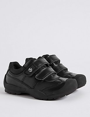 Kids' Leather Wide Fit School Shoes, BLACK, catlanding