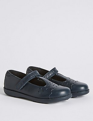 Kids' Freshfeet™ Leather School Shoes with Silver Technology, NAVY, catlanding