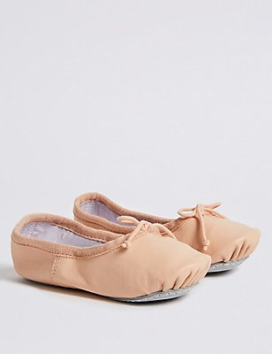 Kids' Leather Dance Ballet Shoes, NUDE, catlanding