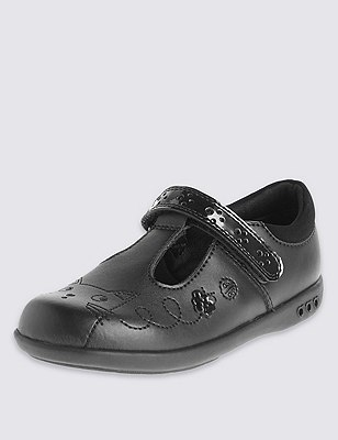 Kids' Scuff Resistant Coated Leather School Shoes with Flashing Lights & Freshfeet™ Technology, BLACK, catlanding