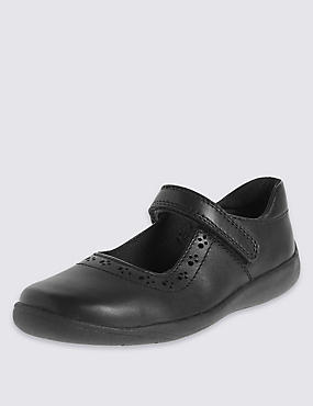Kids' Leather School Shoes with Freshfeet™ Technology, BLACK, catlanding