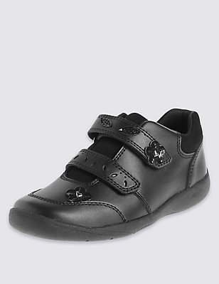Kids' Scuff Resistant Coated Leather School Shoes with Freshfeet™ Technology, BLACK, catlanding